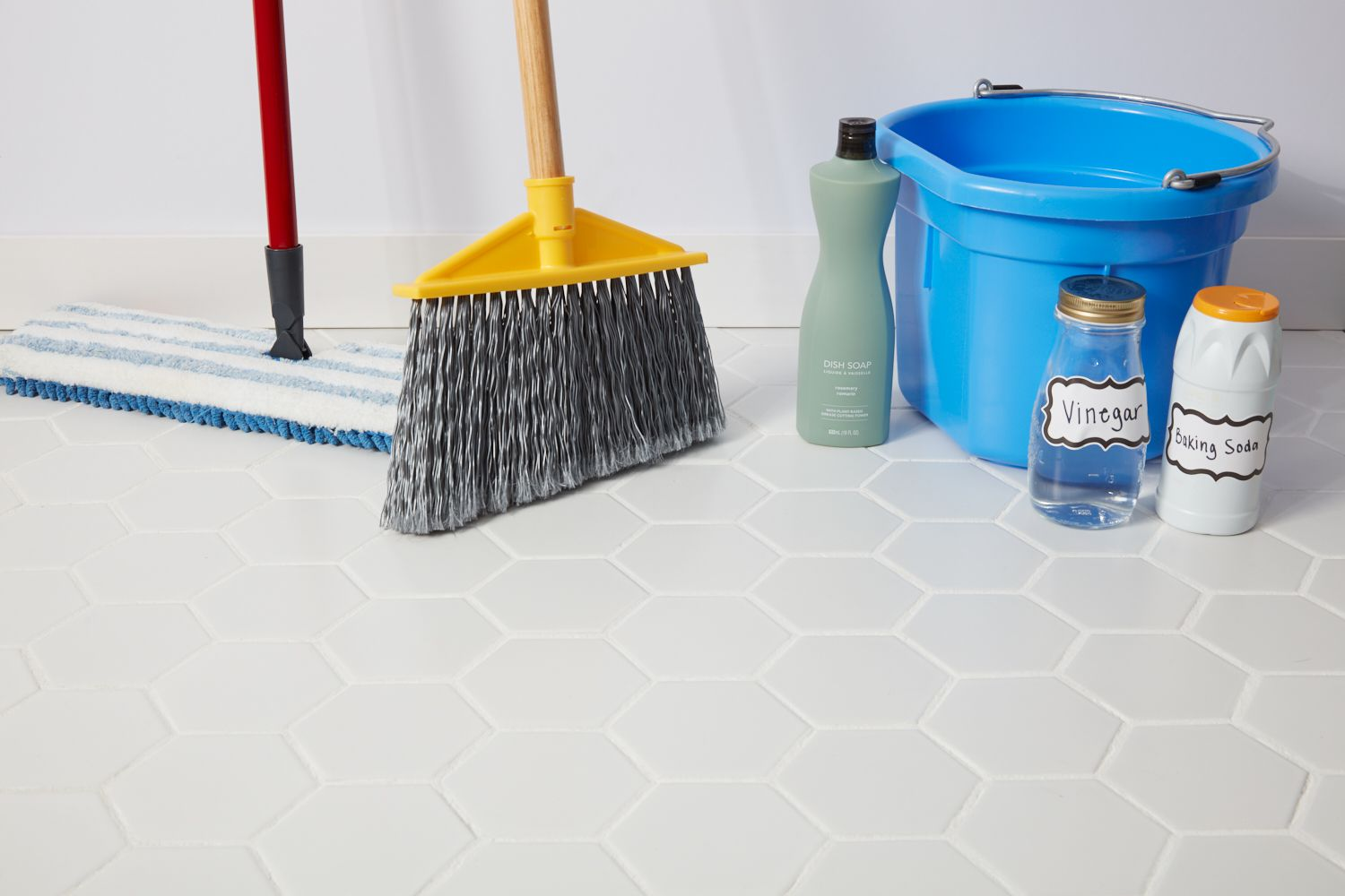 Cleaning supplies for tile floor