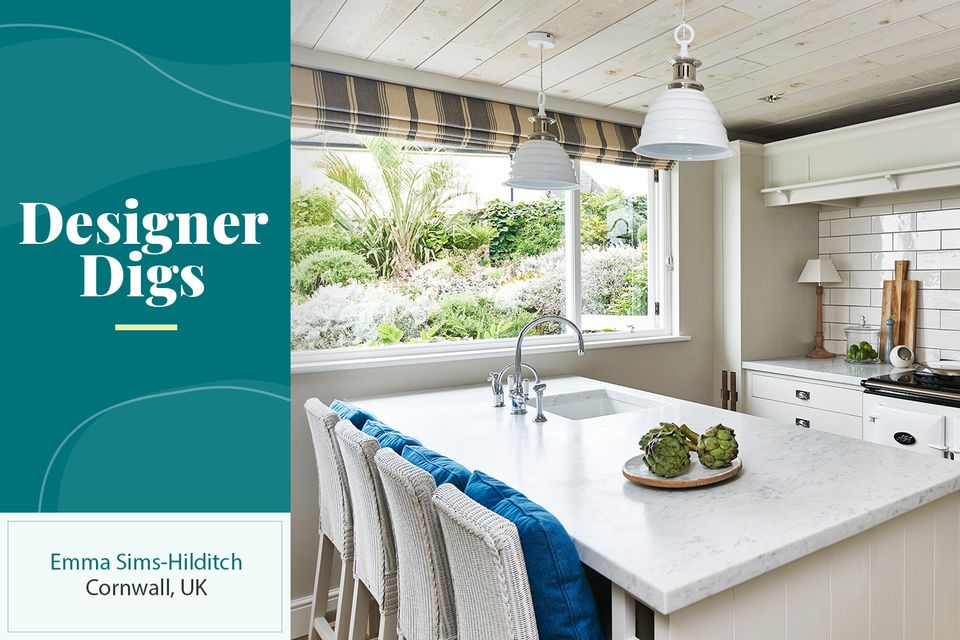 The kitchen in Emma Sims-Hilditch's Cornwall vacation home for Designer Digs
