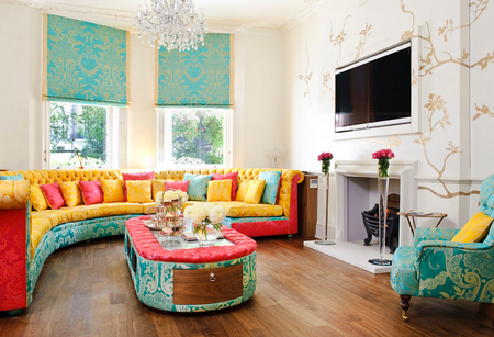 Brightly Colored Elegant Living Room