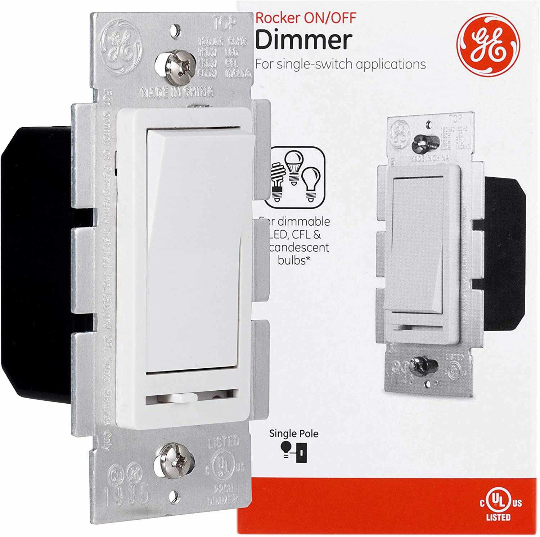 GE Slide Dimmer Rocker Wall Switch, Single Pole