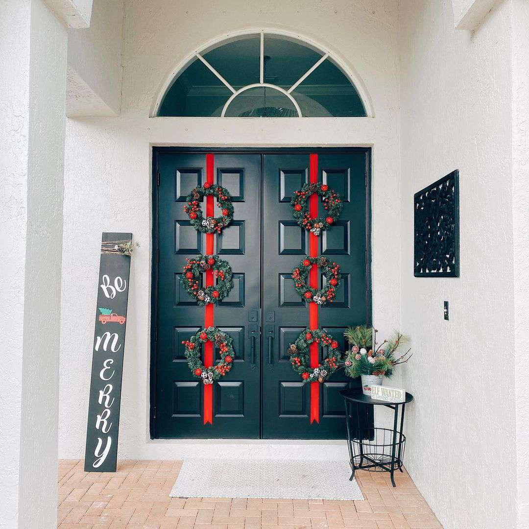 Door with ribbon and wreath