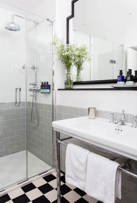 Gray And White Bathroom With Checkerboard Flooring