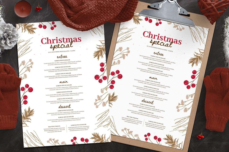 Brown and red rustic Christmas menus