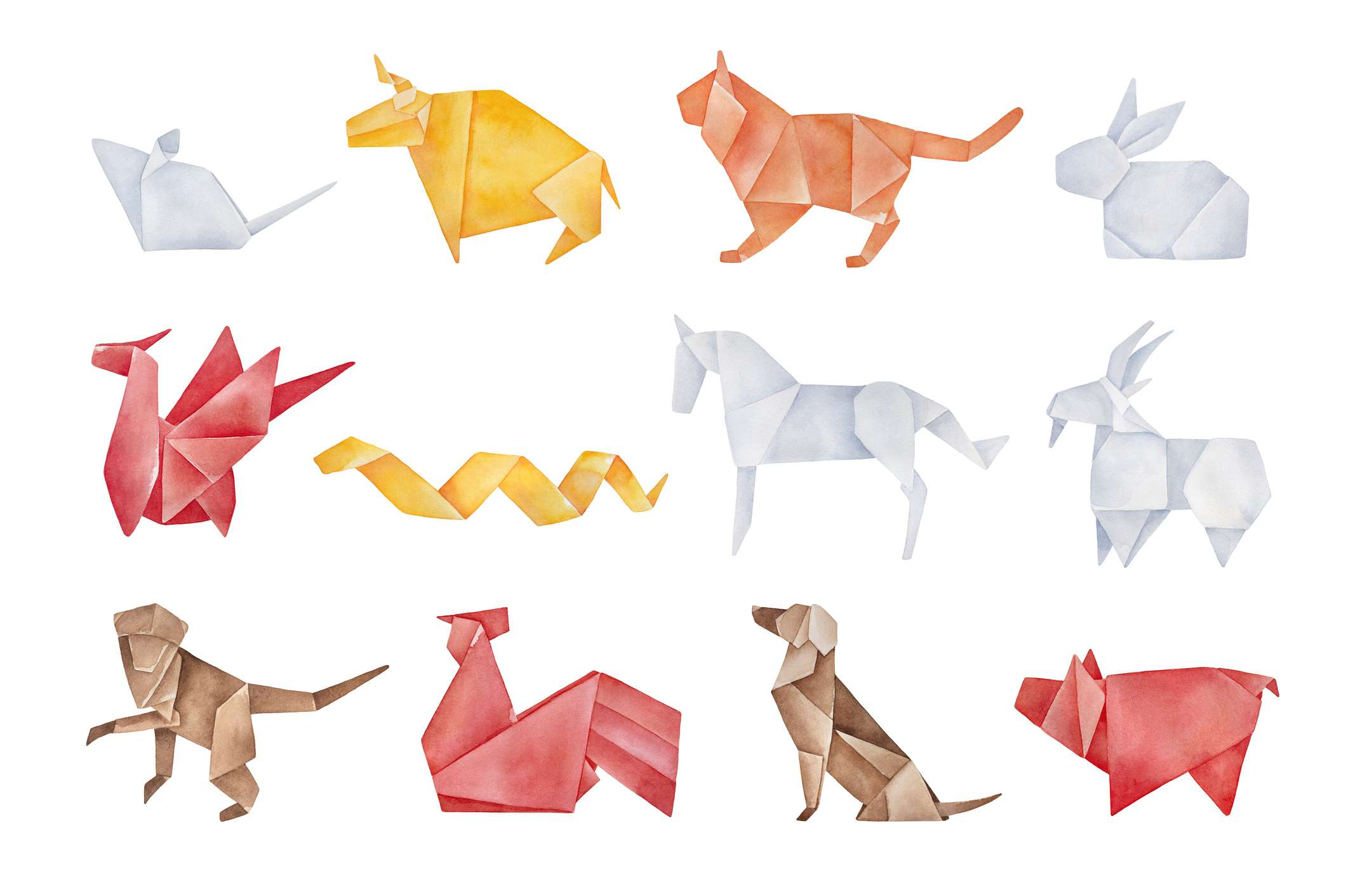 Folded origami pack of twelve traditional Chinese Zodiac Animals. Red, yellow, brown, orange, light gray colors. Hand drawn watercolour graphic drawing