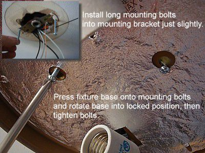 How to replace a ceiling light fixture installed mounting bolts for ceiling light fixture aloadofball Image collections