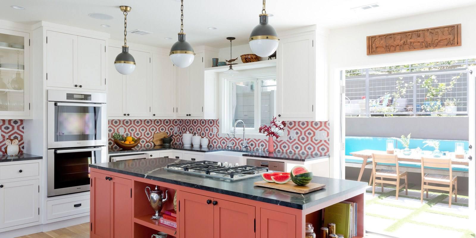 California Tudor with an orange kitchen