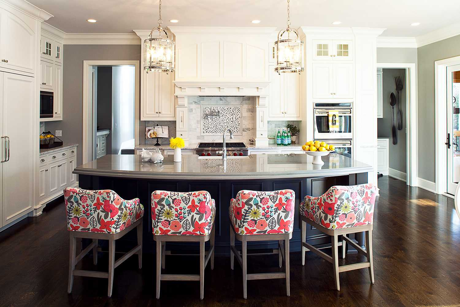traditional kitchen with fabric stools