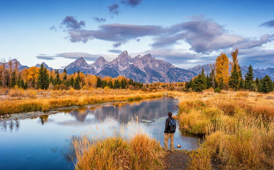 Hiker in Grand Teton National Park USA
