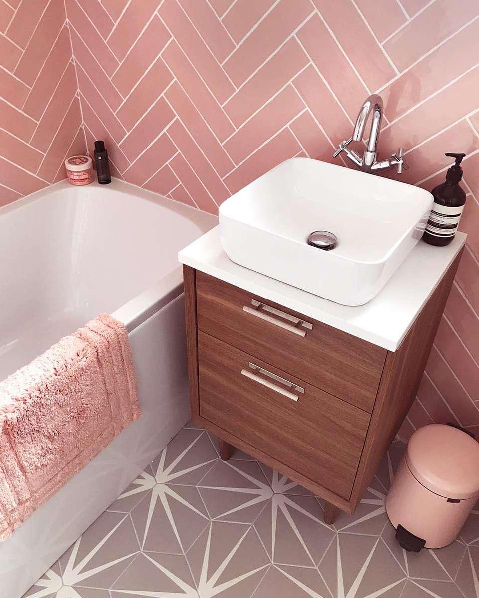 Bathroom Tiles Pink Image Of