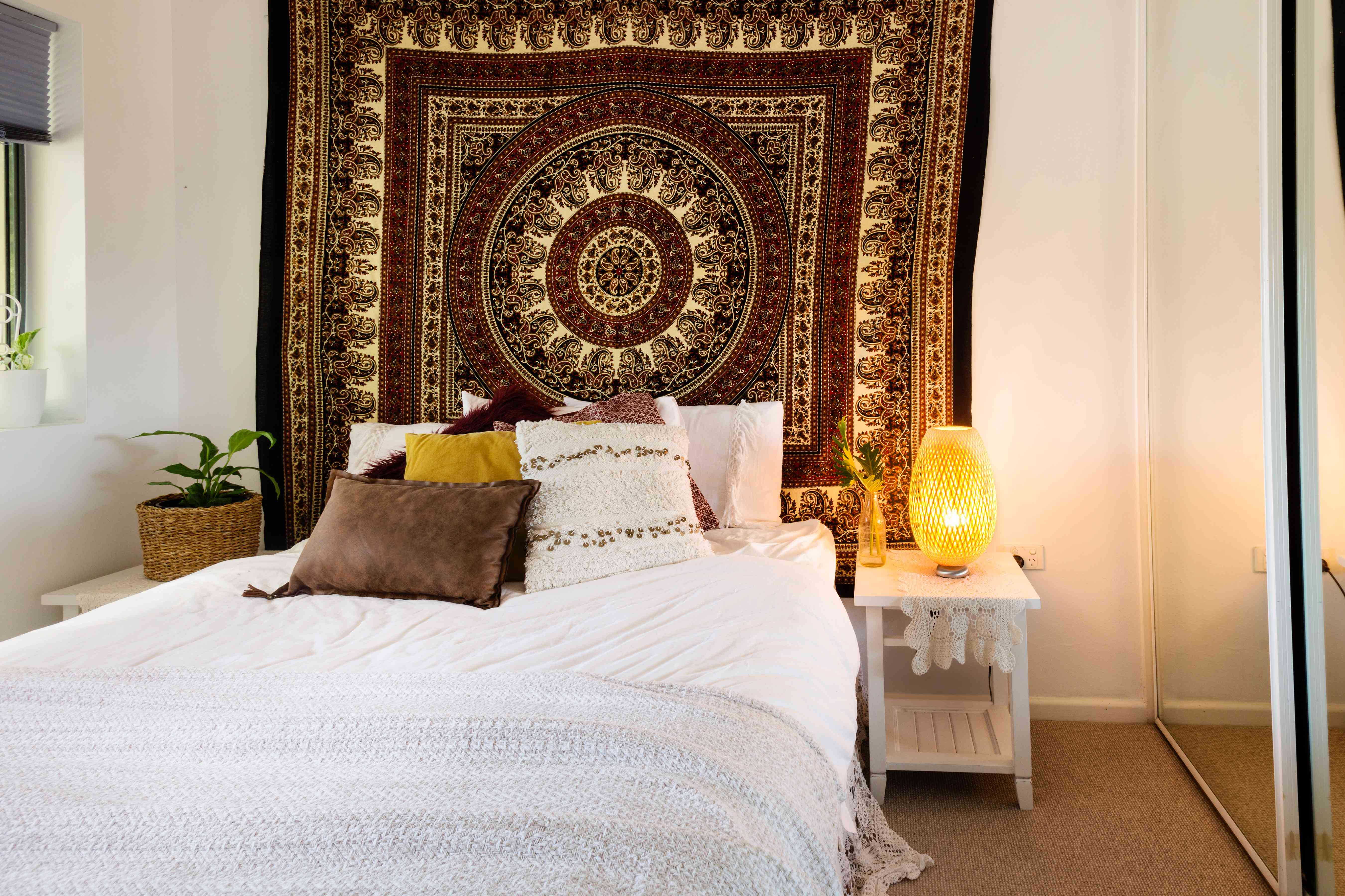 wall tapestry in a bedroom