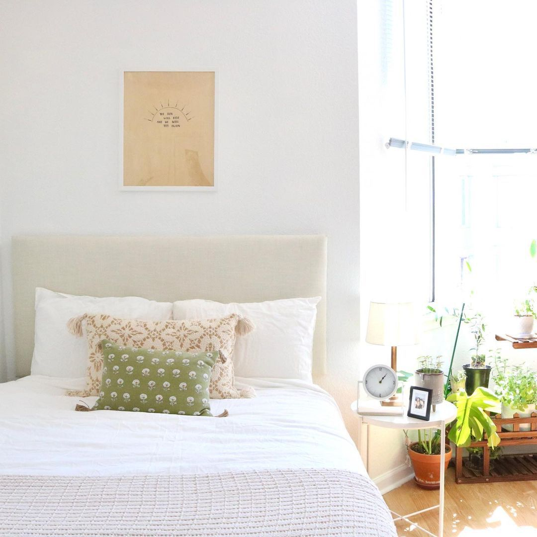 light colored pillows