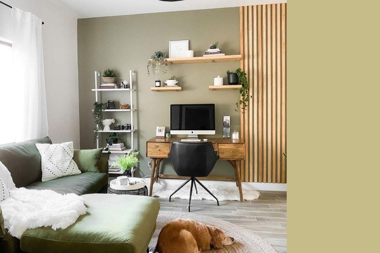 Interior painted a similar color to Farrow & Ball's Churlish Green