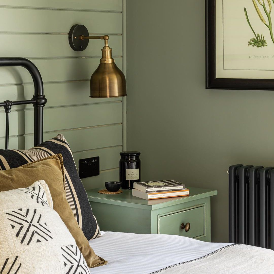 Bedroom with olive walls