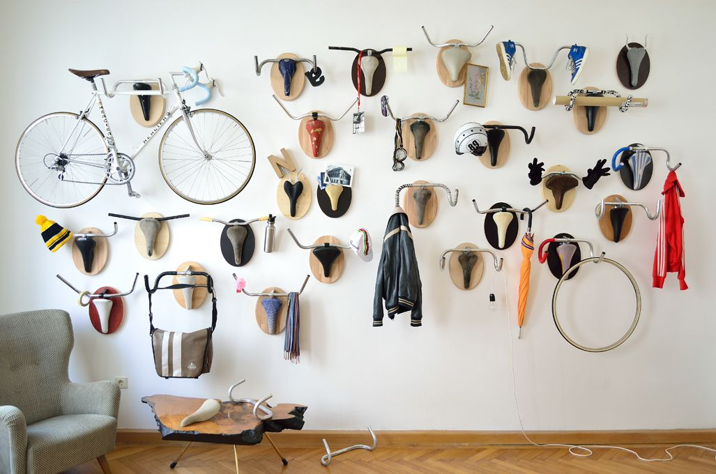 Bike handles hanging on a white wall