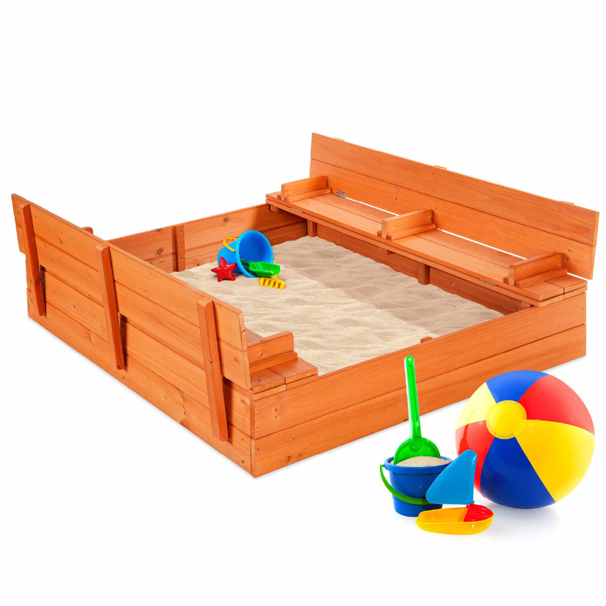 Best Choice Products Wooden Outdoor Sandbox with Foldable Bench Seats