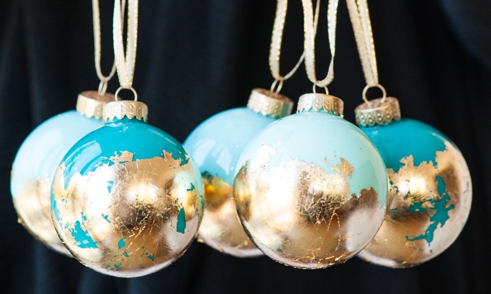 gold and teal ornaments