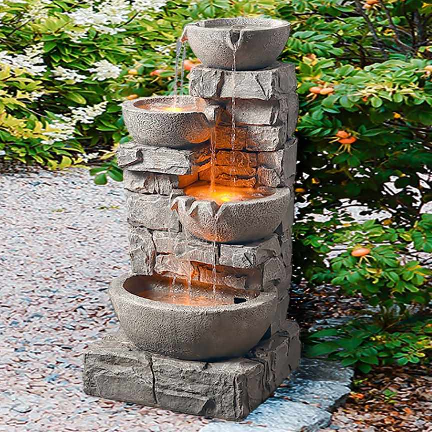 Peaktop Outdoor Stacked Stone Tiered Bowls Fountain w/ LED Light