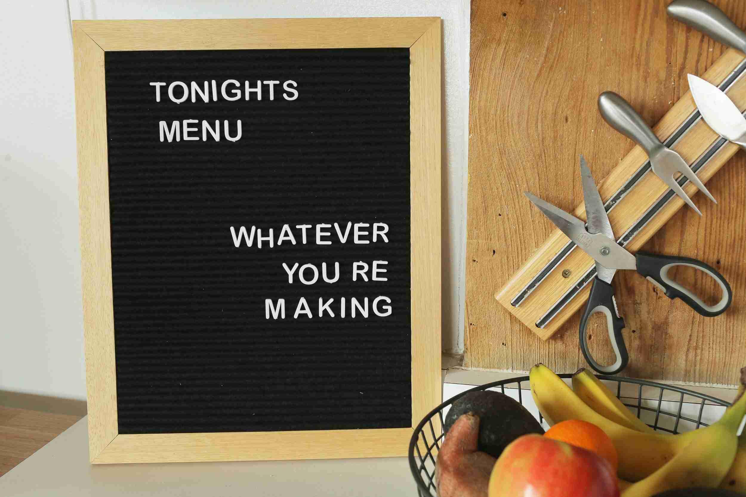 menú de cocina de tablero de fieltro
