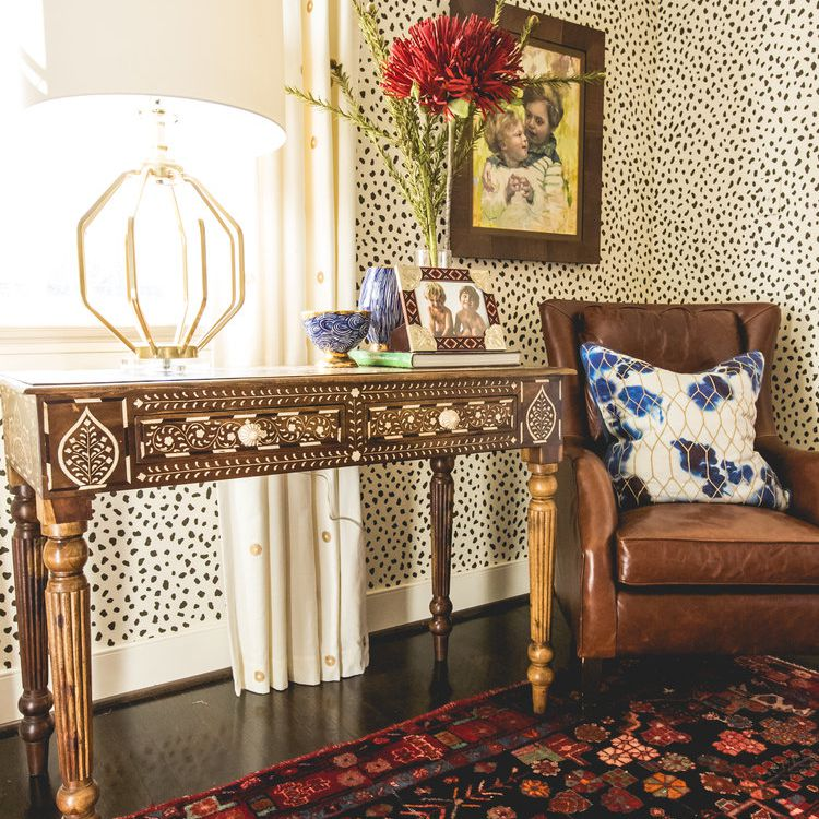 Animal print wallpaper in a room by isabel ladd interiors
