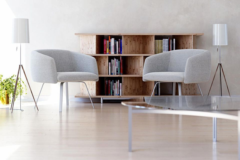 Two chairs in modern bright 3d rendered interior in front of bookshelves (focus on chairs)