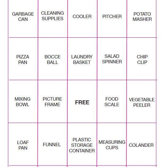 an orange and pink bridal shower bingo card