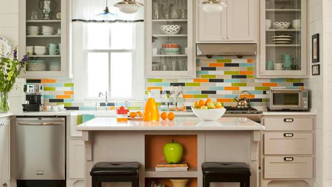 Want Bold Colors Install Blue Glass Subway Tile Backsplash,White Kitchen Cabinets With Carrara Marble Countertops