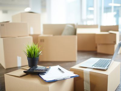 Moving boxes and inventory supplies