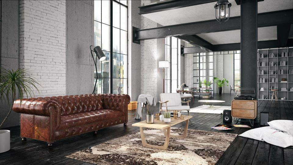 Cozy House Interior with leather sofa