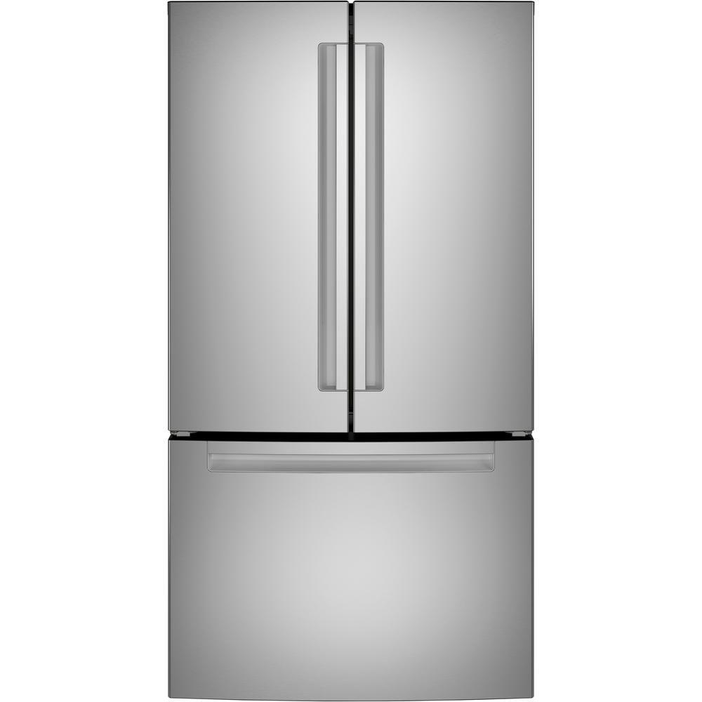 The Haier 27 cu. ft. Bottom Freezer Refrigerator has an internal water dispenser.