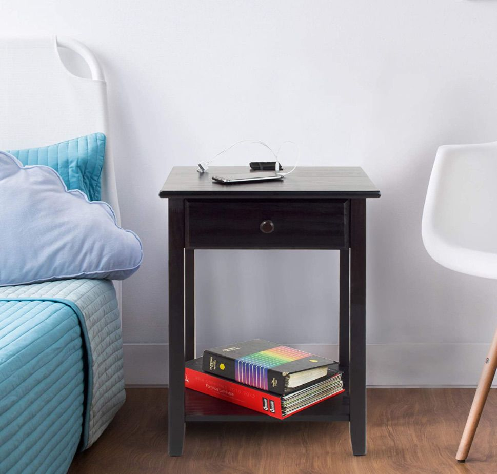 Casual Home Nightstand with USB Ports