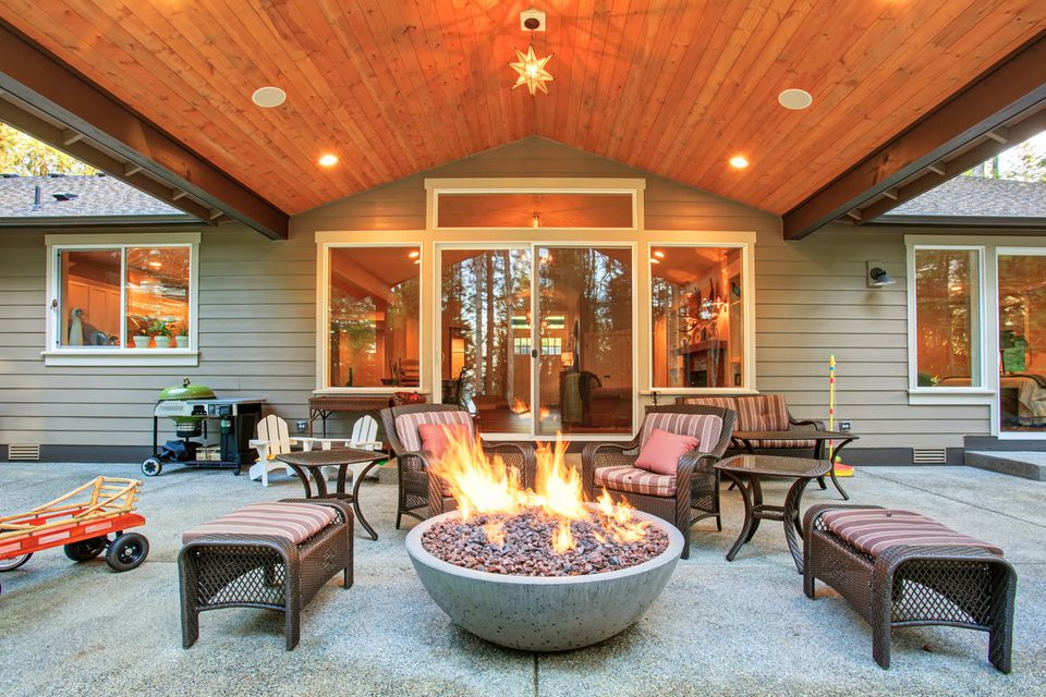 Large gas fire pit on patio