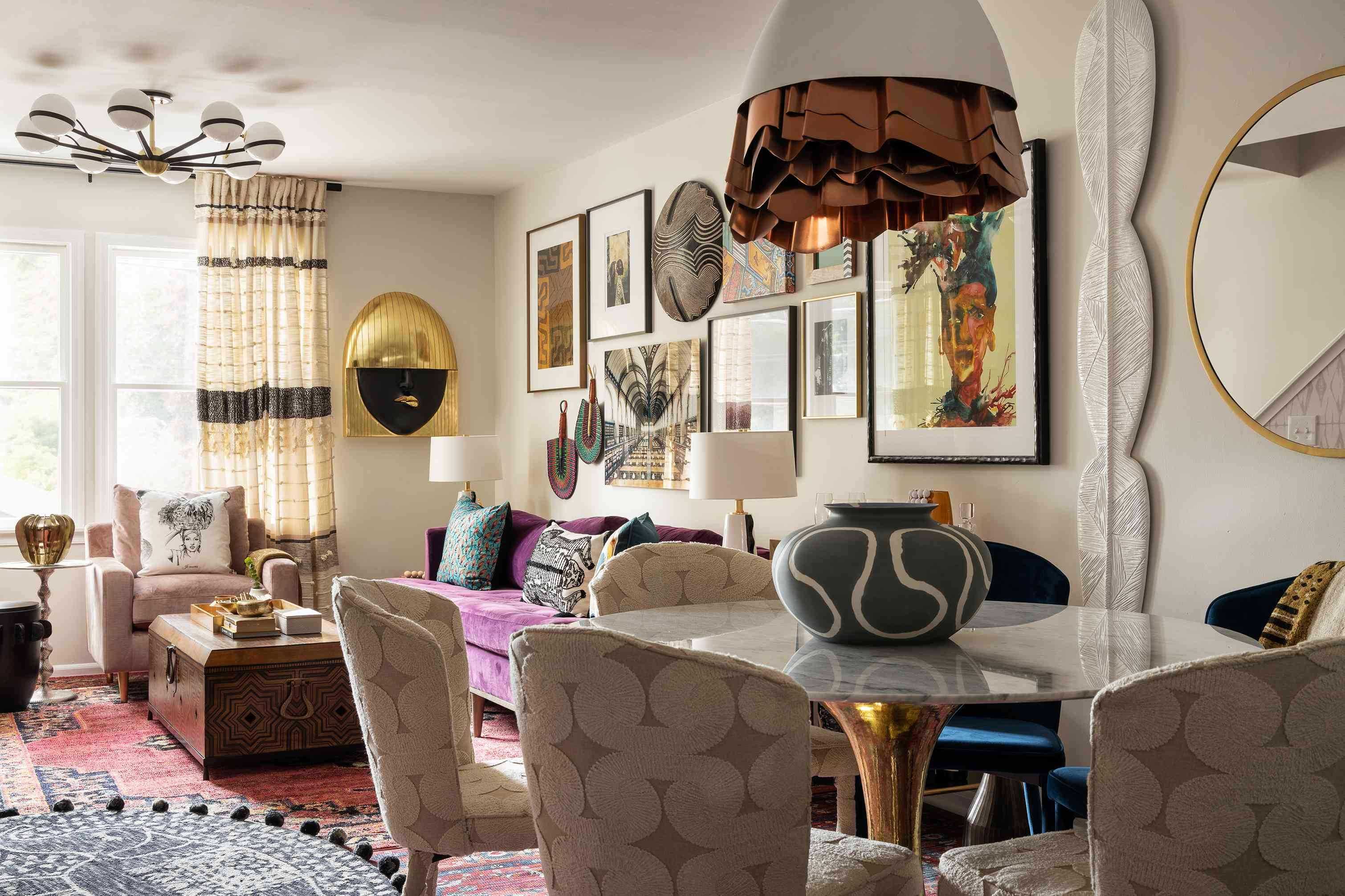 Beth Diana Smith's living and dining rooms feature area rugs
