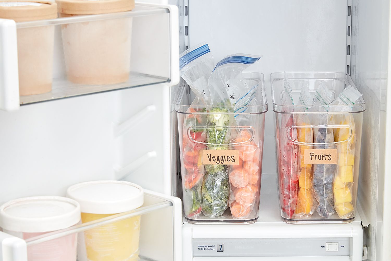 labeled fruit and veggie containers