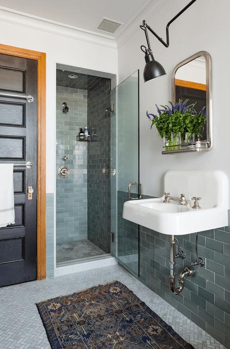 Bathroom With Teal Tile Work