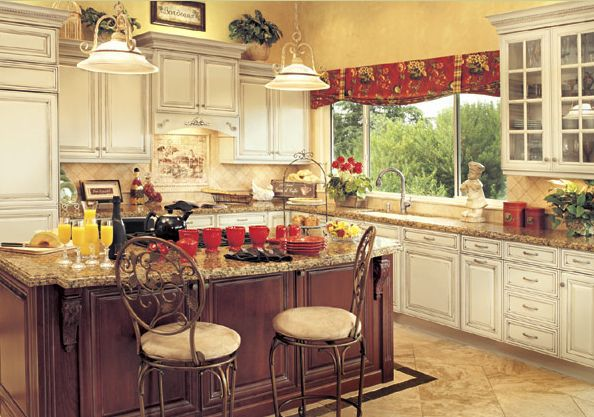 Cherry And Maple Country Style Cabinets Kitchen