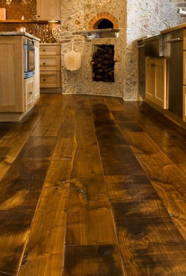 Tuscan Style Kitchen Wide Plank Flooring