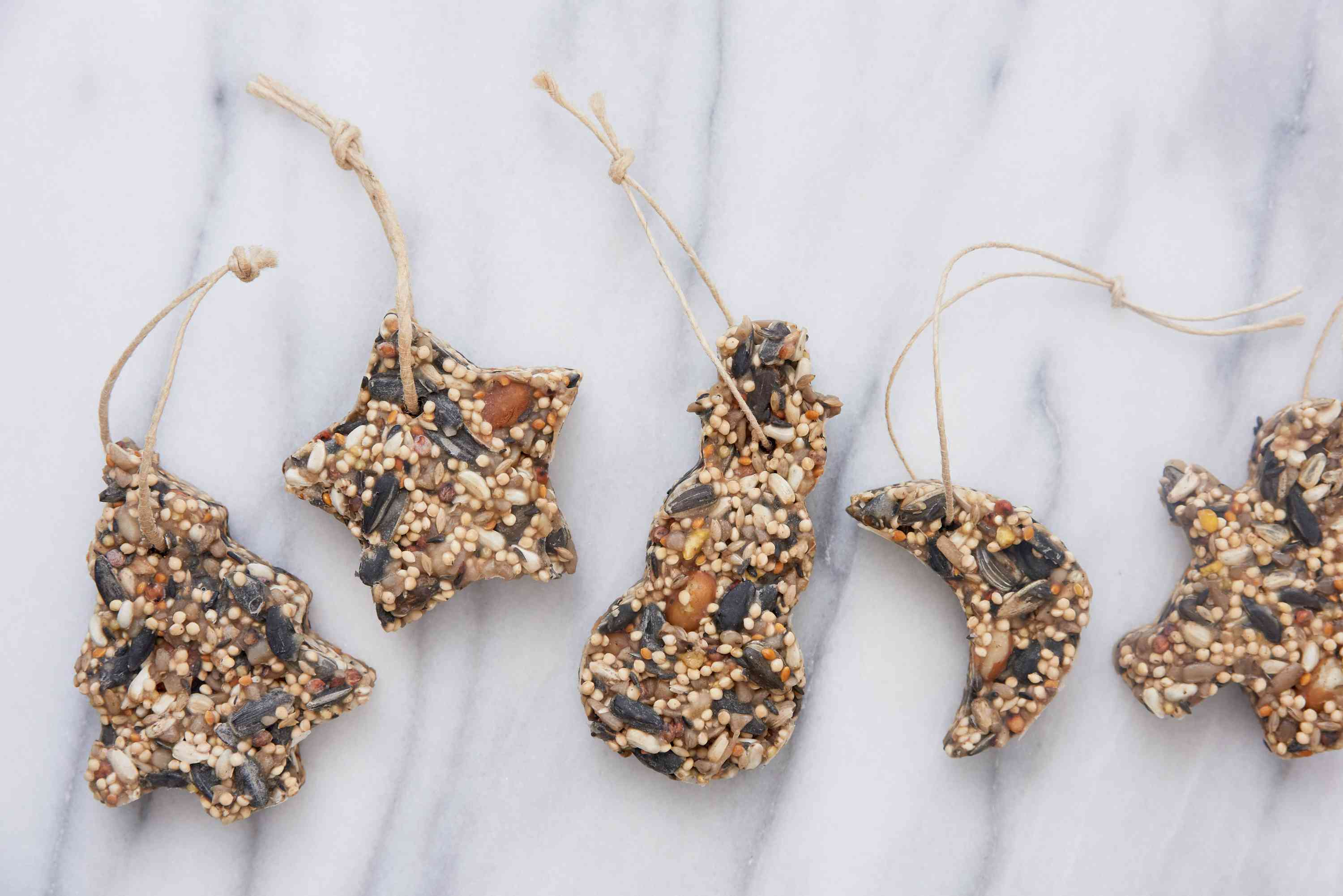 finished bird seed ornaments