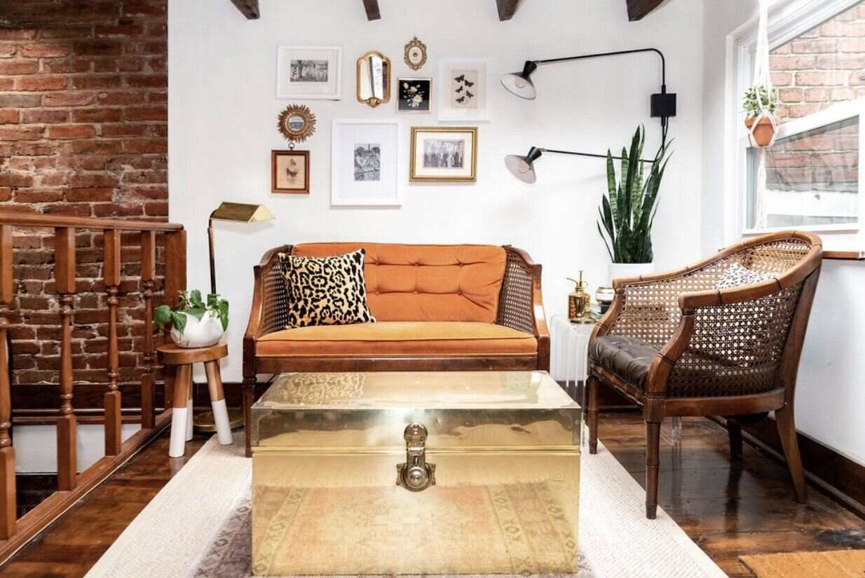 exposed brick paired with brass