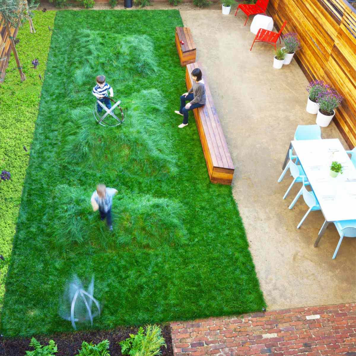 small backyard overhead view