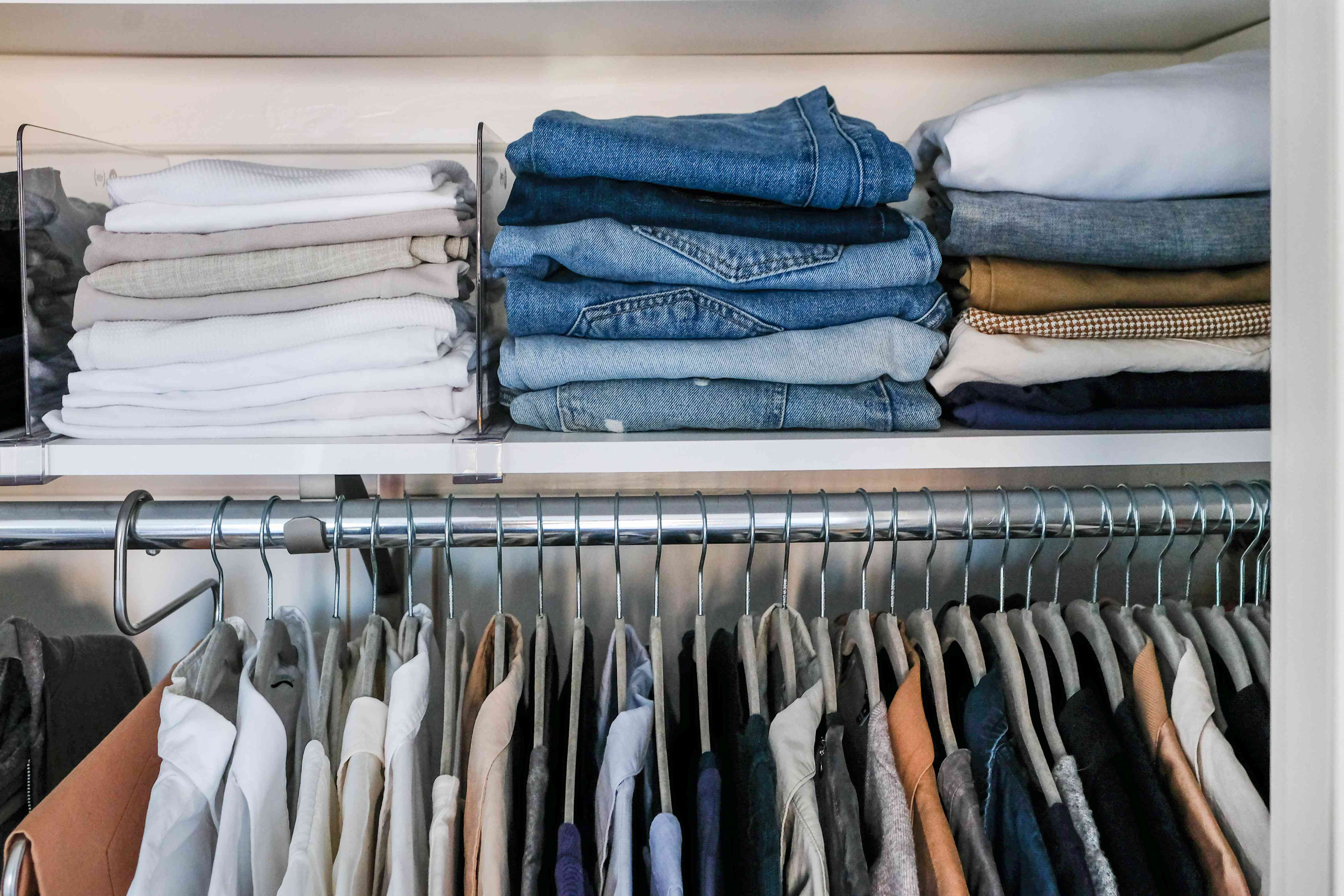 using vertical space in a closet for storage