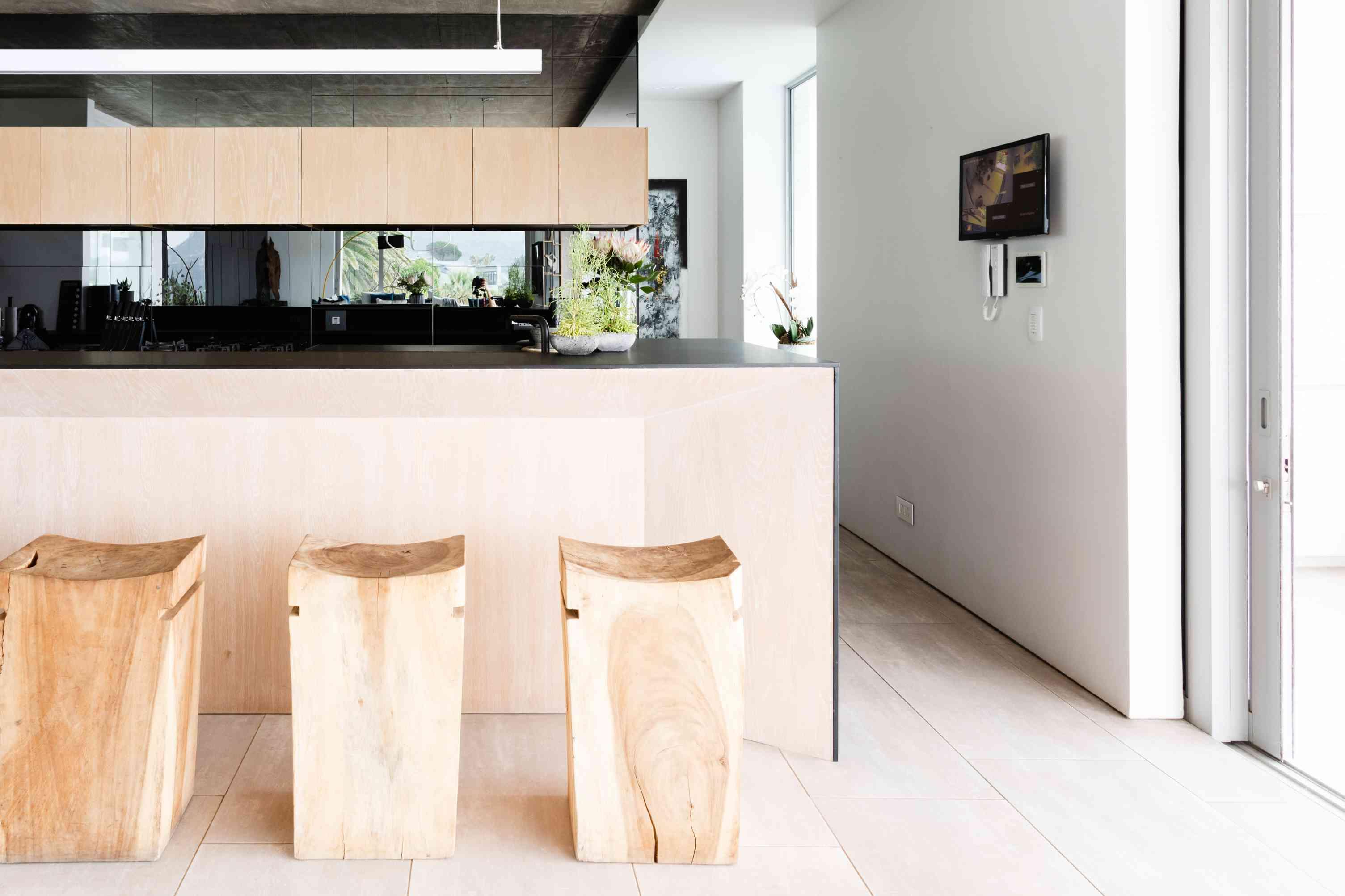 minimalist kitchen island with abundant natural light