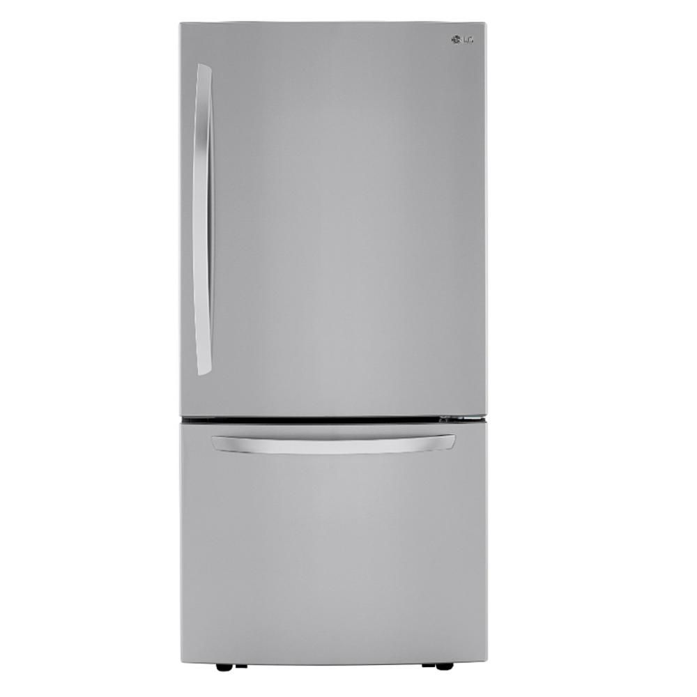 The LG Electronics LRDCS2603S 25.50 cu. ft. Bottom Freezer Refrigerator has a print-proof stainless steel exterior and provides a ton of space for groceries.