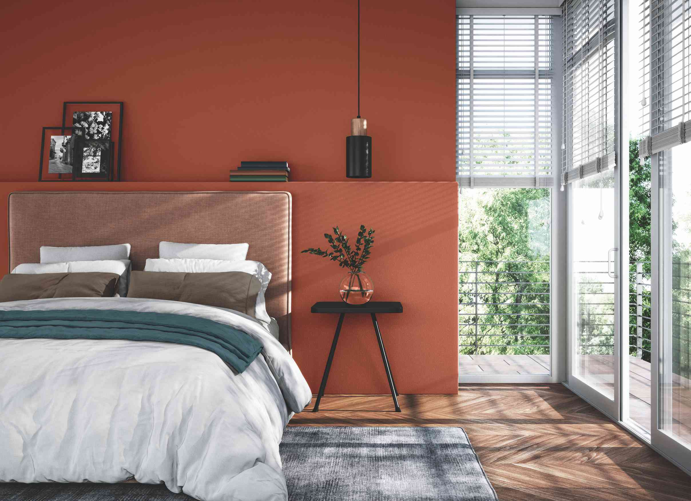 Bedroom painted in Ancient Copper by PPG