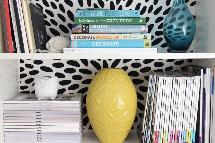 BILLY bookcase fabric makeover