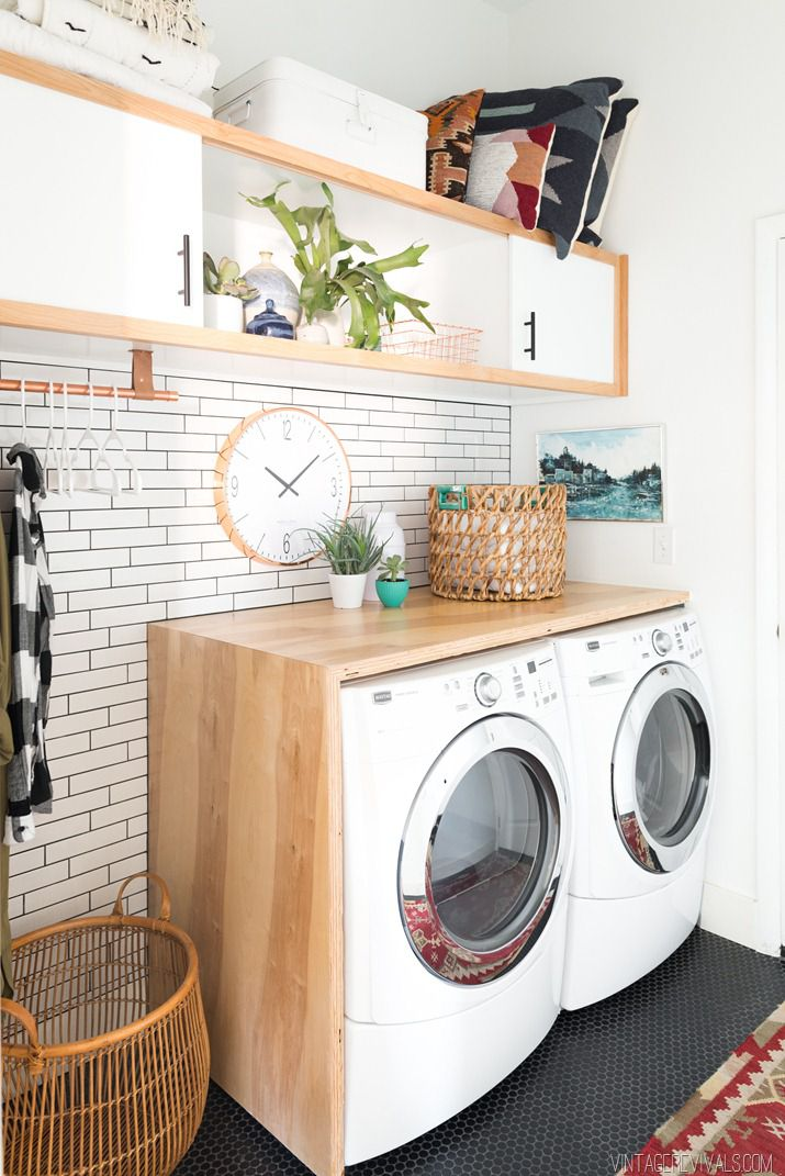 DIY Plywood Laundry Room Waterfall Countertop