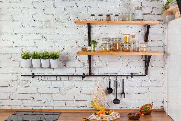 White brick backsplash in kitchen