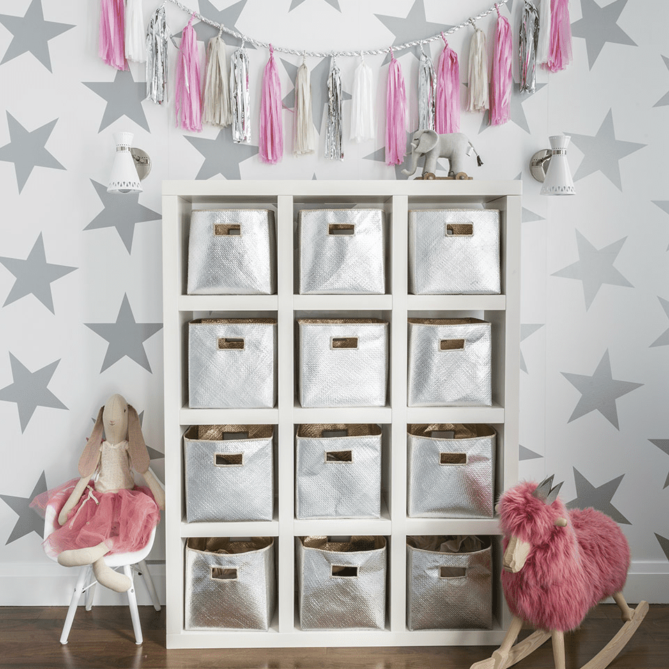 silver white and pink playroom with star wallpaper