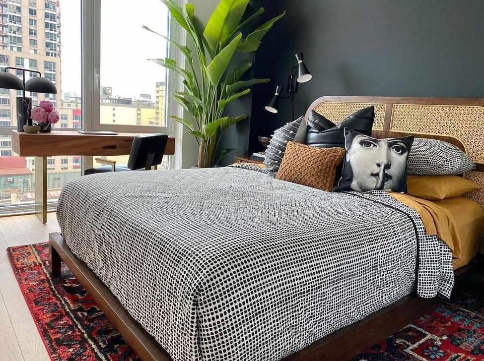 Bedroom with wicker headboard