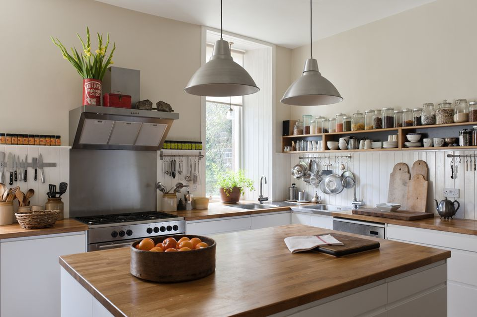 A light-filled kitchen with a large center island