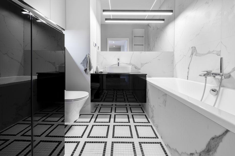 Bathroom Floor Tile - Mosaic Tile, Bathtub